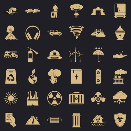 Danger disaster icons set, simple style Stockfoto