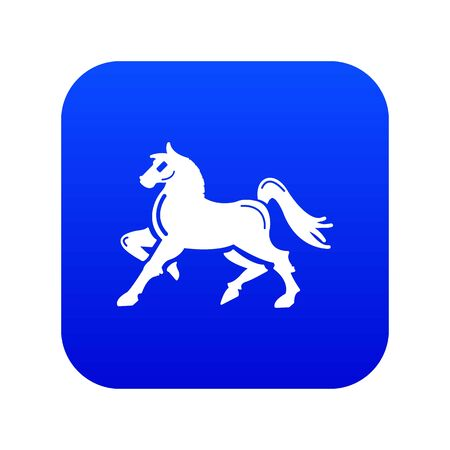 Knight horse mascot icon blue isolated on white background