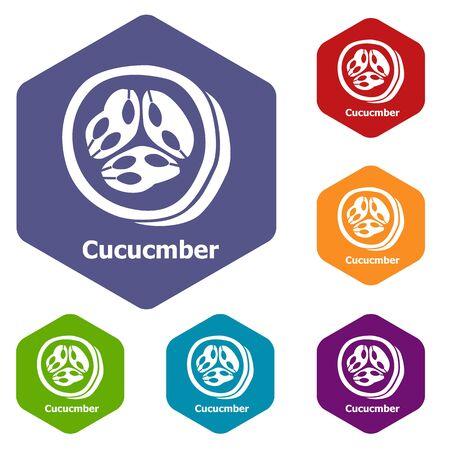 Cucumber icons hexahedron Stok Fotoğraf