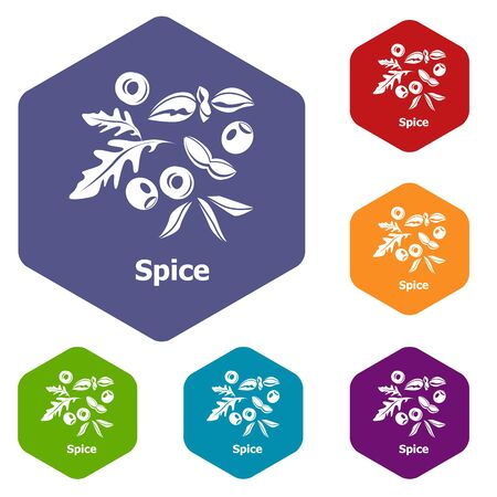 Spice icons hexahedron Stock Photo