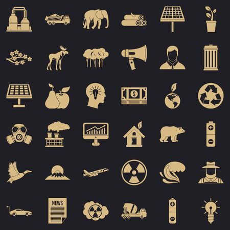 Earth care icons set, simple style Standard-Bild