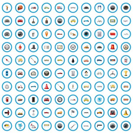 100 road icons set, cartoon style