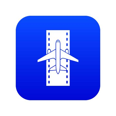 Airplane on the runway icon digital blue for any design isolated on white illustration Stock Photo