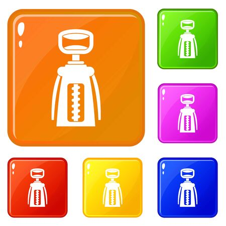 Modern corkscrew icons set collection 6 color isolated on white background Archivio Fotografico - 127158900