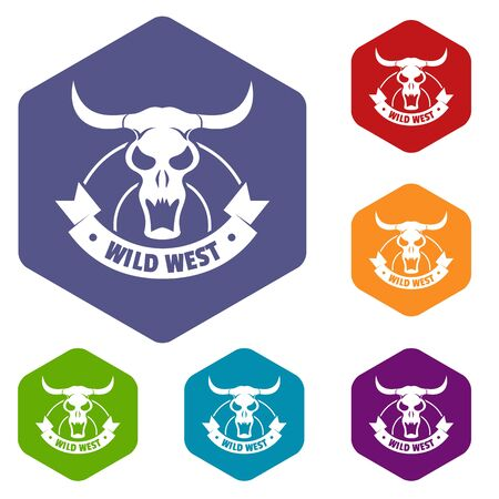 Wild west icons colorful hexahedron set collection isolated on white Stock Photo