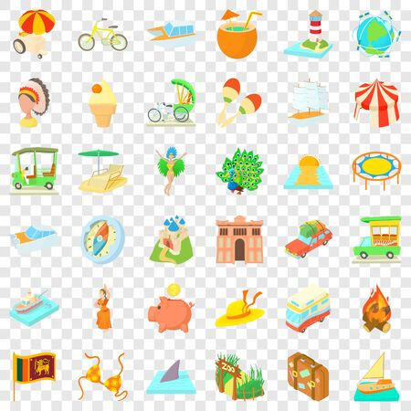 Adventure icons set. Cartoon style of 36 adventure icons for web for any design Stock Photo