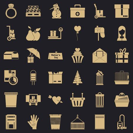 Carton box icons set. Simple style of 36 carton box icons for web for any design