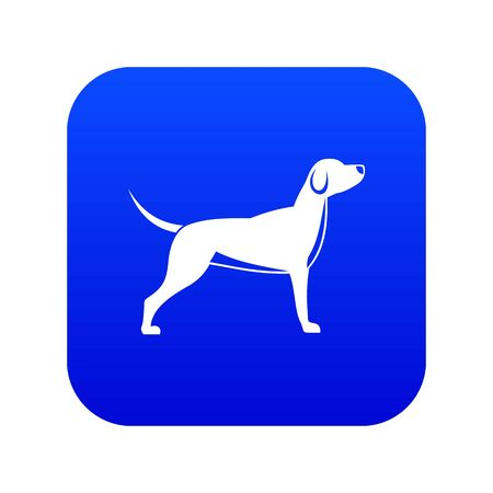 Dog icon digital blue for any design isolated on white illustration