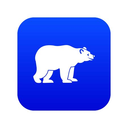 Bear icon digital blue for any design isolated on white illustration