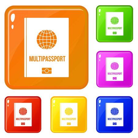 Multipassport icons set collection 6 color isolated on white background Imagens