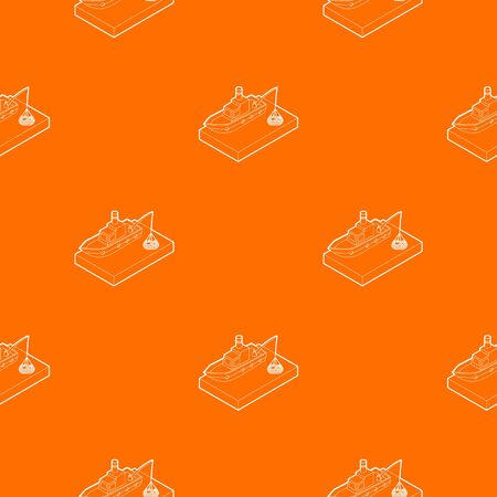 Fishing boat pattern vector orange for any web design best