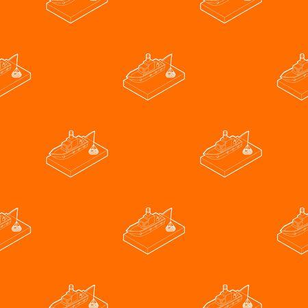 Fishing boat pattern vector orange for any web design best Illustration