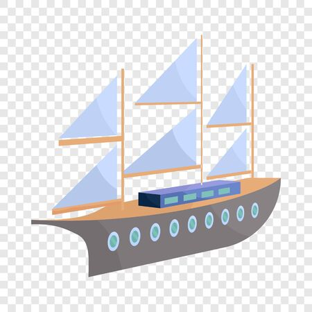 Ship with sails icon. Cartoon illustration of ship vector icon for web Illustration