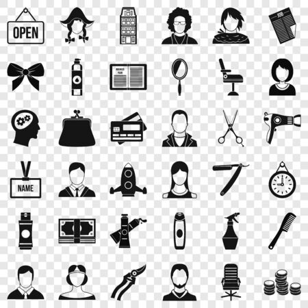 Scissors icons set. Simple style of 36 scissors vector icons for web for any design