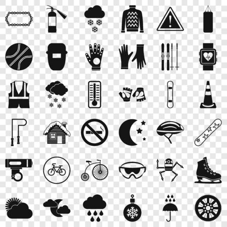 Glove icons set. Simple style of 36 glove vector icons for web for any design