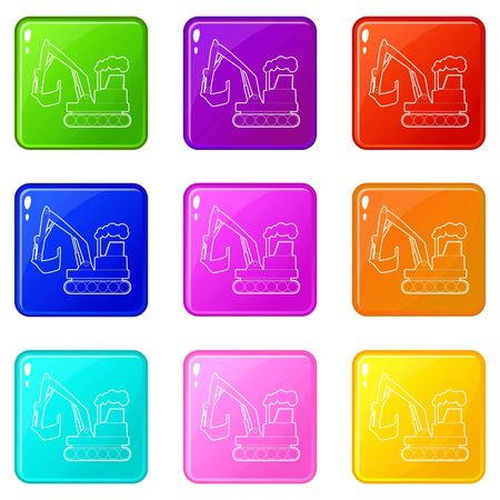 Excavator icons set 9 color collection isolated on white for any design Ilustrace