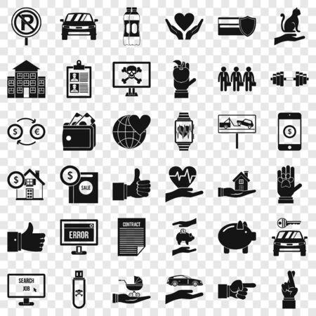 Hand icons set. Simple style of 36 hand vector icons for web for any design Illustration