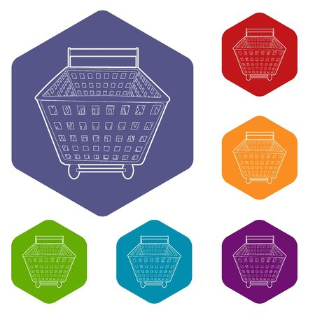 Shopping cart icons vector colorful hexahedron set collection isolated on white Illustration