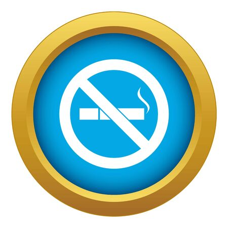 No smoking sign icon blue vector isolated on white background for any design Ilustrace