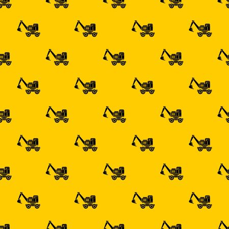 Excavator pattern seamless vector repeat geometric yellow for any design