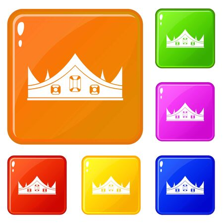 Royal crown icons set collection vector 6 color isolated on white background