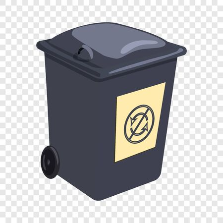 Trashcan icon, cartoon style