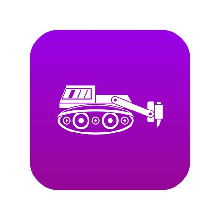 Excavator with hydraulic hammer icon digital purple for any design isolated on white vector illustration