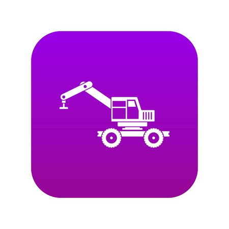 Crane truck icon digital purple for any design isolated on white vector illustration
