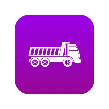 Dumper truck icon digital purple for any design isolated on white vector illustration Vettoriali