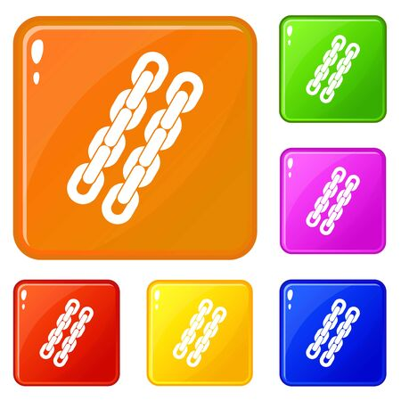 Chains icons set collection vector 6 color isolated on white background