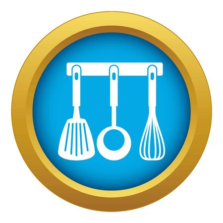 Spatula, ladle and whisk, kitchen tools on a hanger icon blue vector isolated on white background for any design Illustration