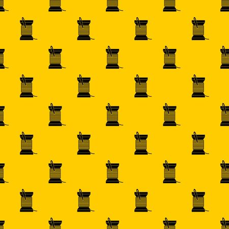 Needle and thread pattern seamless vector repeat geometric yellow for any design