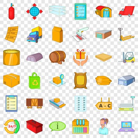 Storehouse icons set. Cartoon style of 36 storehouse vector icons for web for any design