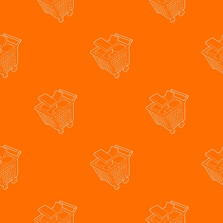 Sale shopping cart with boxes pattern vector orange for any web design best Illustration