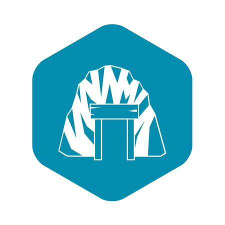 Mine in mountain icon. Simple illustration of mine in mountain vector icon for web