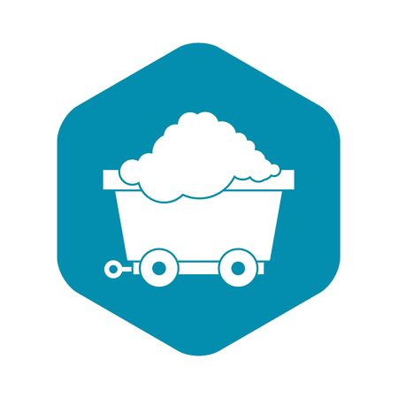 Cart on wheels with coal icon. Simple illustration of cart on wheels with coal vector icon for web Vettoriali