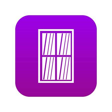 White latticed rectangle window icon digital purple Illustration