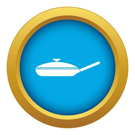 Black frying pan with white lid icon blue vector isolated on white background for any design