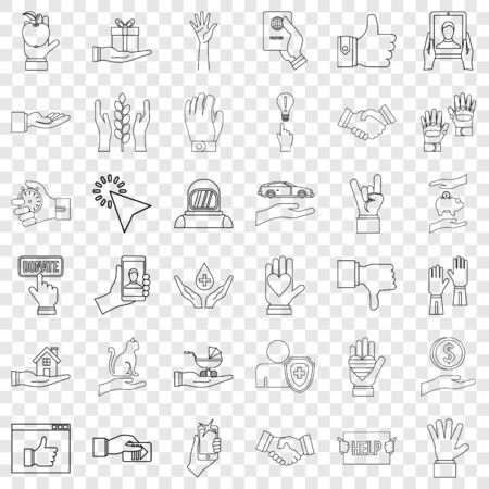 Protection icons set, outline style