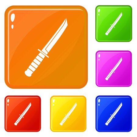 Little knife icons set vector color Illustration