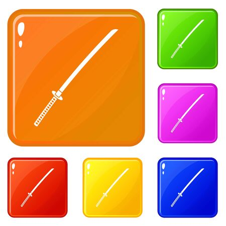 Japanese katana icons set vector color Illustration