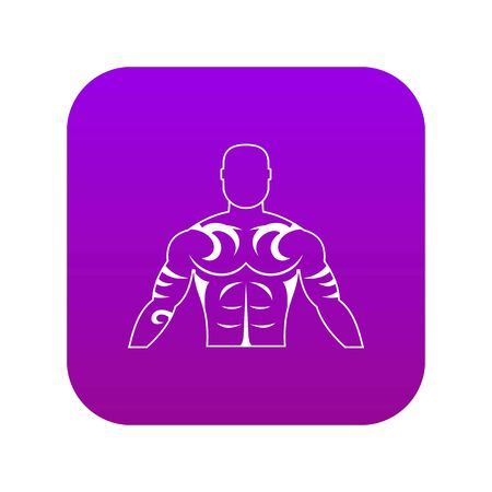 Muscular man with tattoo icon digital purple Stock Vector - 127306544