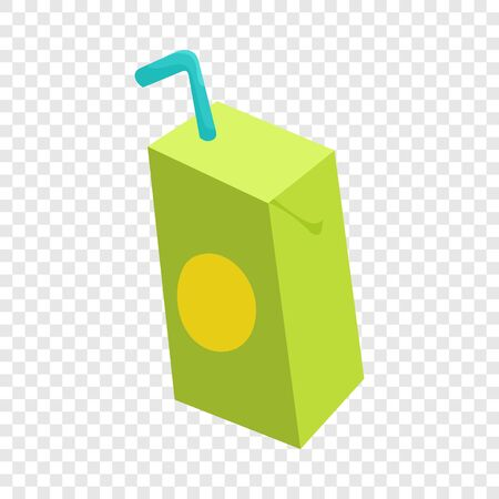 Pack of juice with drinking straw icon in cartoon style isolated on background for any web design Ilustração