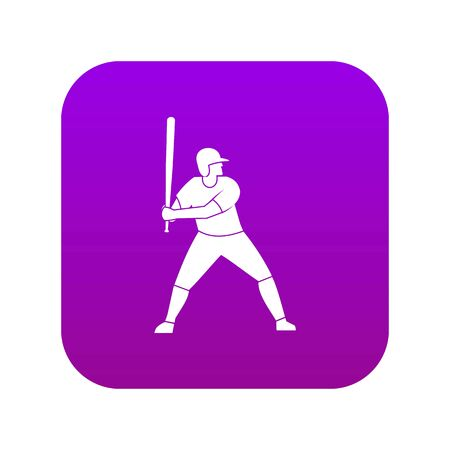Baseball player with bat icon digital purple for any design isolated on white vector illustration Banque d'images - 130251657