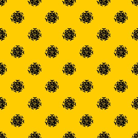 Round viral bacteria pattern seamless vector repeat geometric yellow for any design Ilustración de vector