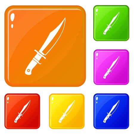 Dagger icons set vector color Illustration