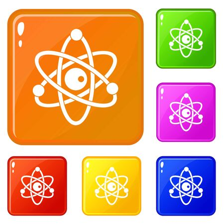 Atomic model icons set vector color