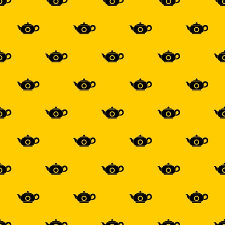 Teapot pattern seamless vector repeat geometric yellow for any design