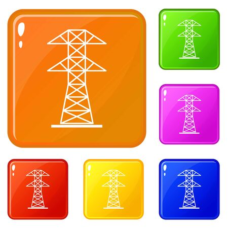 High voltage tower icons set collection vector 6 color isolated on white background