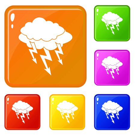 Lightning bolt icons set collection vector 6 color isolated on white background Illustration